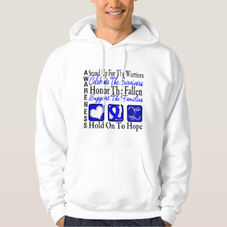 Stand Up Celebrate Honor Collage Colon Cancer Hooded Sweatshirt