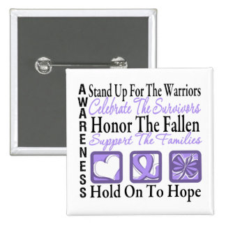 Stand Up Celebrate Honor Collage General Cancer 2 Inch Square Button