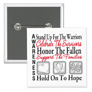 Stand Up Celebrate Honor Collage Lung Cancer 2 Inch Square Button