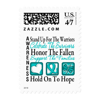 Stand Up Celebrate Honor Collage Ovarian Cancer Postage
