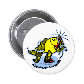 Stand-Up Fish funny comic cartoon Button