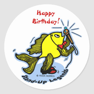 Stand-Up Fish funny comic cartoon Classic Round Sticker