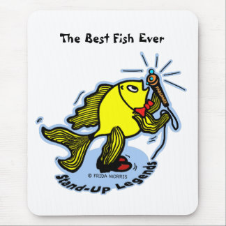 Stand-Up Fish funny comic cartoon Mouse Pad