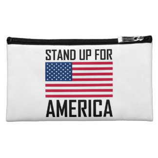 Stand Up For America Flag National Anthem Cosmetic Bag