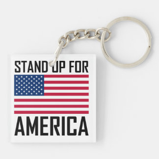 Stand Up For America Flag National Anthem Keychain