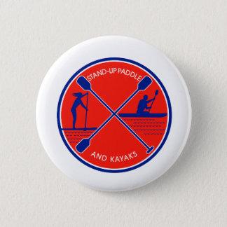 Stand-up Paddle and Kayak Circle Retro Pinback Button