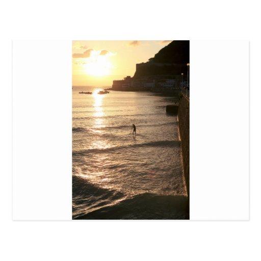 Stand up paddle boarding sunset San Sebastian Postcard