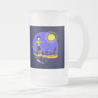 Stand Up Paddle Design 16 Oz Frosted Glass Beer Mug