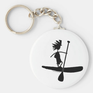 Stand Up Paddle Silhouette Design Basic Round Button Keychain