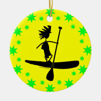 Stand Up Paddle Silhouette Design Ceramic Ornament