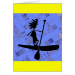Stand Up Paddle Silhouette Design Greeting Card