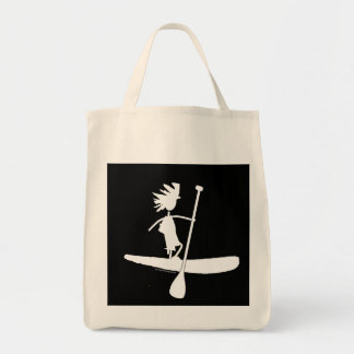 Stand Up Paddle Silhouette Design Grocery Tote Bag