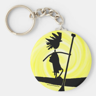 Stand Up Paddle Silhouette Design Keychain