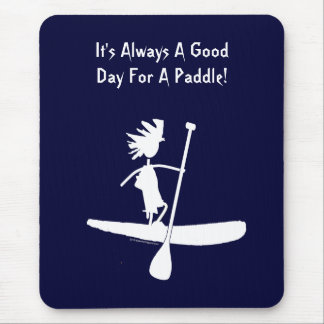 Stand Up Paddle Silhouette Design Mouse Pad