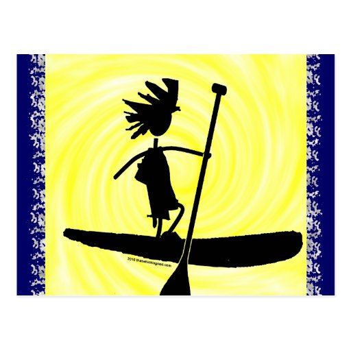 Stand Up Paddle Silhouette Design Postcards