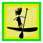 Stand Up Paddle Silhouette Design Poster
