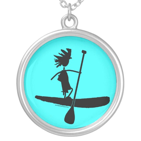 Stand Up Paddle Silhouette Design Silver Plated Necklace