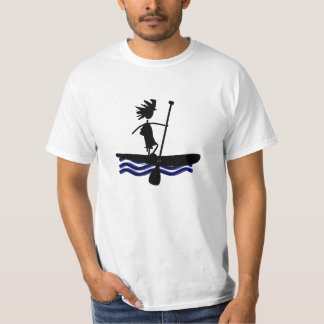 Stand Up Paddle Silhouette Design Tee Shirts