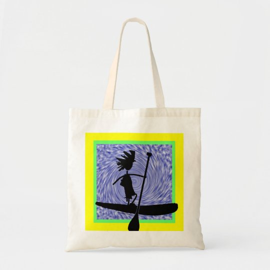 Stand Up Paddle Silhouette Design Tote Bag