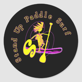 Stand Up Paddle Surf Classic Round Sticker