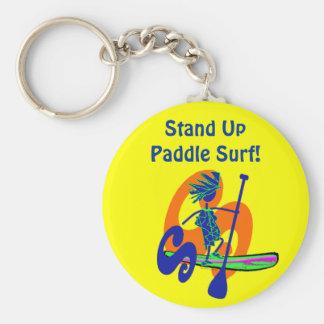 Stand Up Paddle Surf Design Basic Round Button Keychain