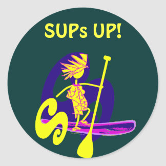 Stand Up Paddle Surf Design Classic Round Sticker