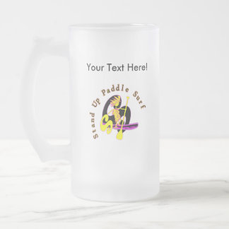Stand Up Paddle Surf 16 Oz Frosted Glass Beer Mug