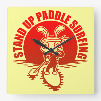 Stand up paddle surfing square wallclocks