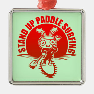 Stand up paddle surfing metal ornament