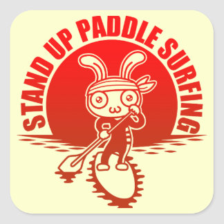 Stand up paddle surfing square sticker