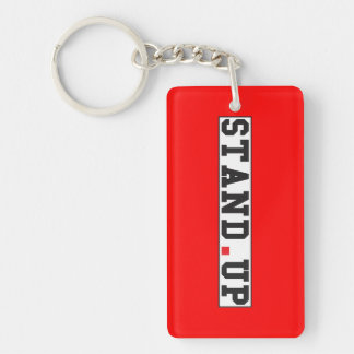 stand up text message emotion feel red dot square keychain