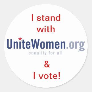 Stand/Vote with UniteWomen.org Classic Round Sticker