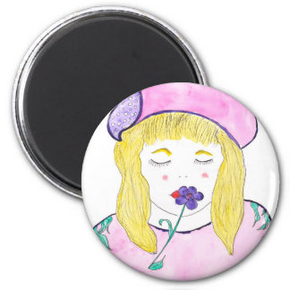 "Standard 2 1/4"" round magnet with girl and flower"