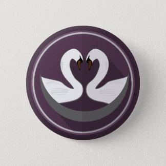 Standard, 2¼ Inch Round Button LOVE SWANS
