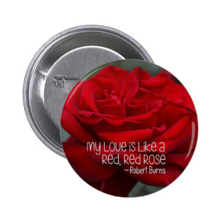 Standard, 2¼ Inch Round Button My Love Red Rose