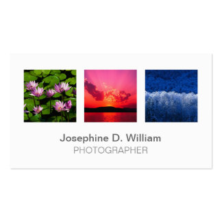 Standard 3 photo or logo white gray modern chic Double-Sided standard business cards (Pack of 100)