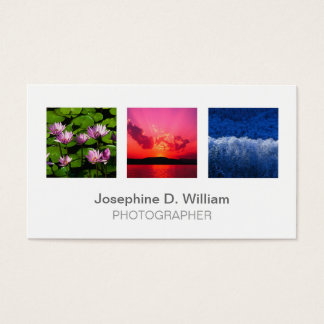 Standard 3 photo or logo white gray modern chic business card
