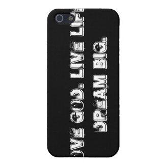 Standard Black, Love God. Live Life. Dream Big. iPhone SE/5/5s Cover