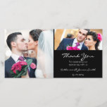 """Standard Black Wedding Thank You Photo Card<br><div class=""""desc"""">This black thank you wedding photo card features an area for text and room for two wedding photos. It&#39;s simple and modern in design. It&#39;s suitable for a couple looking for a standard black wedding thank you card with room for two wedding photographs .</div>"""