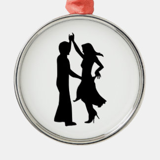 Standard dancing couple round metal christmas ornament