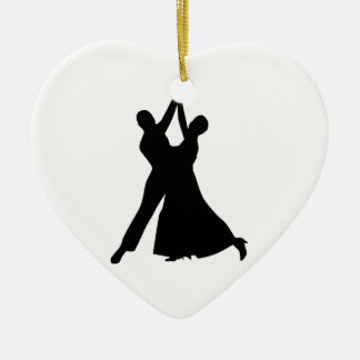 Standard dancing Double-Sided heart ceramic christmas ornament