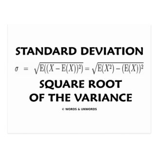 Standard Deviation Square Root Of The Variance Post Card