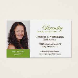 Standard green custom headshot company logo business card
