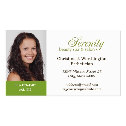 Standard green custom headshot company logo Double-Sided standard business cards (Pack of 100)