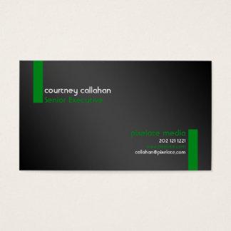 Standard green stripe slick business cards