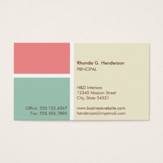Standard modern color block beige professional business card