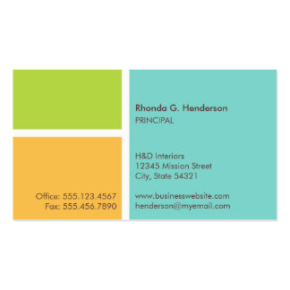 Standard modern color block turquoise professional Double-Sided standard business cards (Pack of 100)