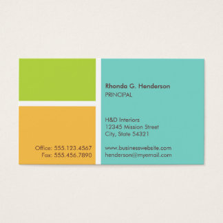 Standard modern color block turquoise professional business card