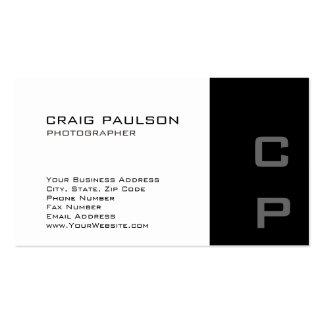 Standard Monogram Modern White Black Business Card