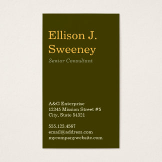 Standard moss gray professional bold type design business card